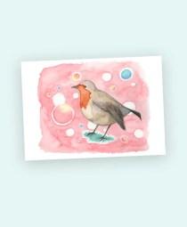 robin watercolour art card