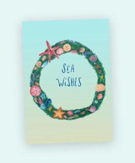 sea wishes wreath watercolor art