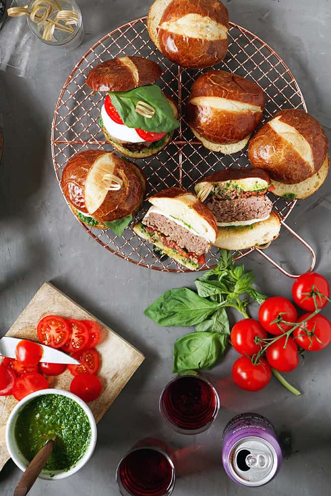 CAPRESE SALAD BURGER ON PRETZEL BUN