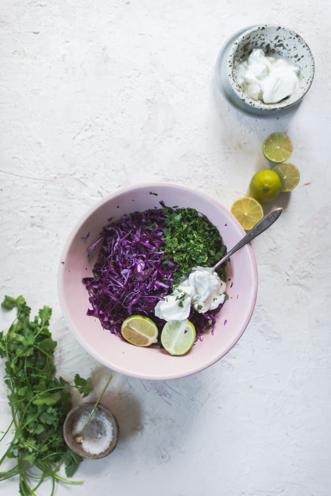 purple cabbage slaw with yogurt and lime sauce
