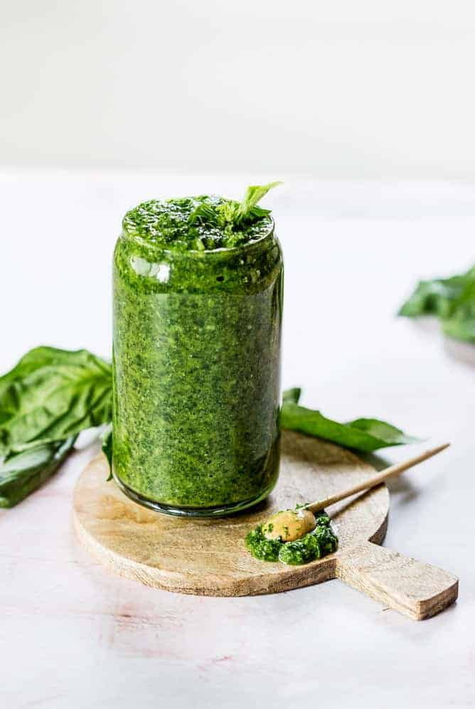 arugula basil pesto in jar