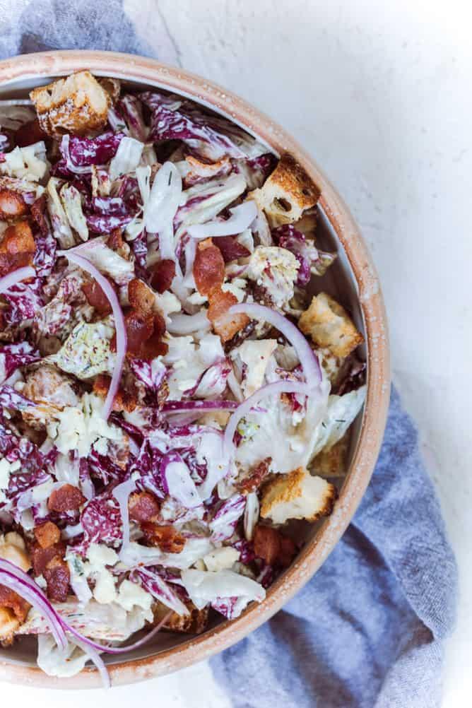 RADICCHIO SALAD with bacon, onions, croutons by lenaskitchenblog.com