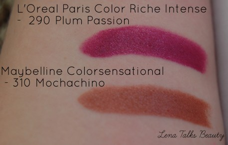 L'Oreal Paris color riche 290 plum passion swatch, maybelline colorsensational 310 mochachino swatch