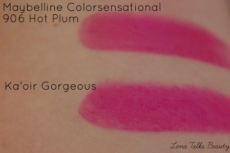 Maybelline colorsensation 906 Hot Plum swatch, Ka oir gorgeous swatch