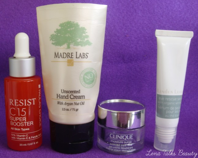 Paulas Choice C15, madre labs hand cream, clinique moisture surge, linden leaves eye rescue serum
