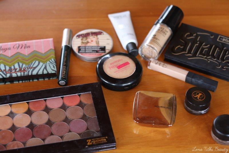 Makeup geek eyeshadow, hourglass ambient lighting blush, anastasia dipbrow, nars radiant creamy concealer