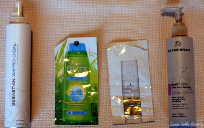 Sebastian whipped creme, de lorenzo nova fusion silver, schwarzkopf bb repair, garnier fructis shampoo