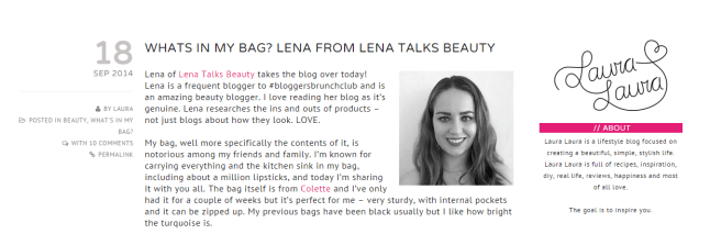 whats in my bag for laura laura blog