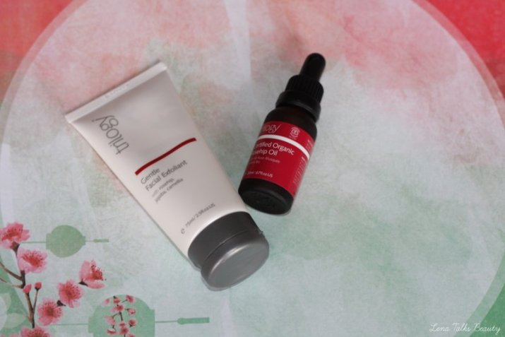 Trilogy facial exfoliator and Trilogy Rosehip Oil