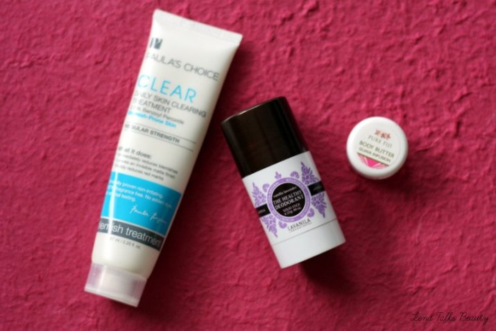 August Empties - Paula's Choice Blemish Treatment, Lavanilla deodorant, Pure Fiji Body Butter