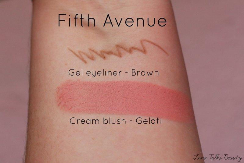 Fifth avenue brown gel eyeliner gelati cream blush swatch