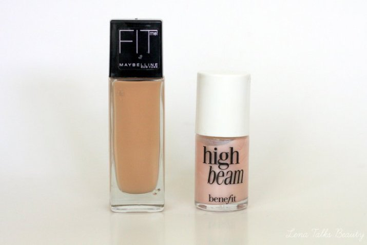 Maybelline Fit me Foundation and Benefit High Beam foundation - Lena Talks Beauty