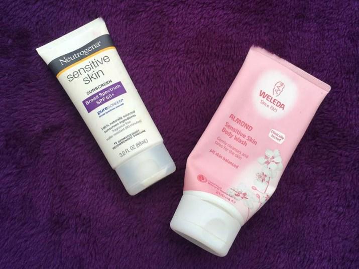 Neutrogena sensitive skin sunscreen, weleda almond sensitive skin body wash