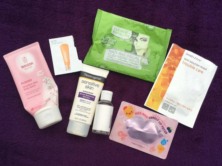 Weleda almond body wash, clinique pep-start eye cream, neutrogena senstive skin sunscreen, dr bronners soap, tony moly lip mask, innisfree trouble care mask, fuss free naturals face wipes 2