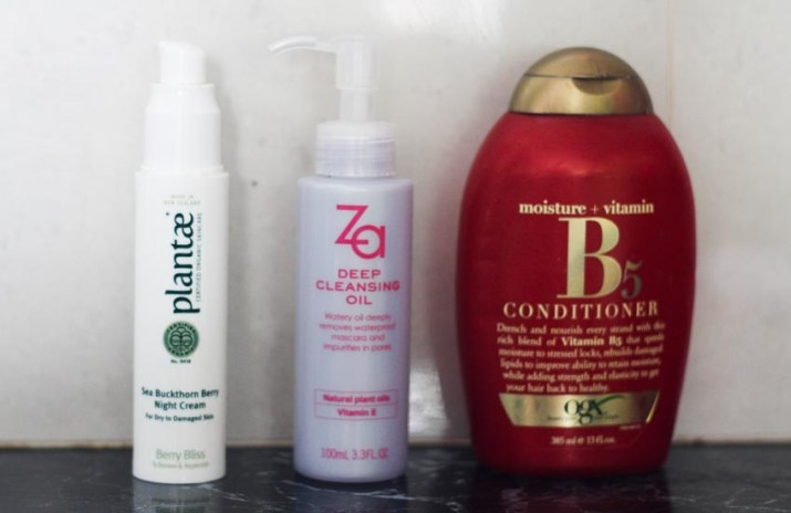 Plantae Sea Buckthorn Berry Night Cream, Za Deep Cleansing Oil, OGX Moisture + Vitamin B5 Condtioner - Lena Talks Beauty