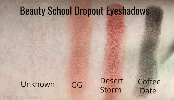 Beauty School Dropout eyeshadow swatches - Unknown, GG, Desert Storm, Coffee Date - Lena Talks Beauty