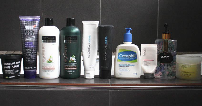 Tresemme Botanique, Sebastian Hydre, Fudge Violet Shampoo, Cetaphil, Trilogy exfoliant, Giovanni body scrub