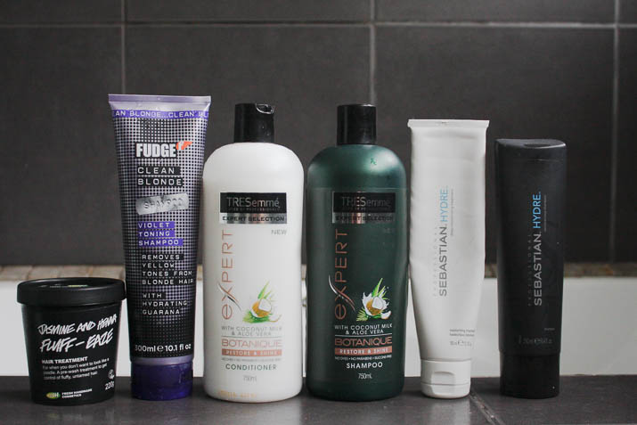 Lush Fluff Ease Jasmine and Henna treatment, Tresemme Botanique shampoo and conditioner, Sebastian Hydre shampoo and mask