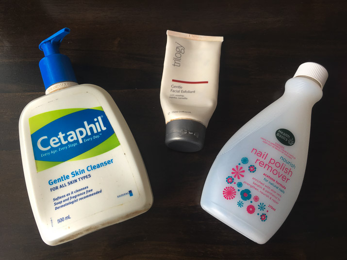 Cetpahil daily cleanser, trilogy gentle exfoliant, health basics nail polish remover - lenatalksbeauty