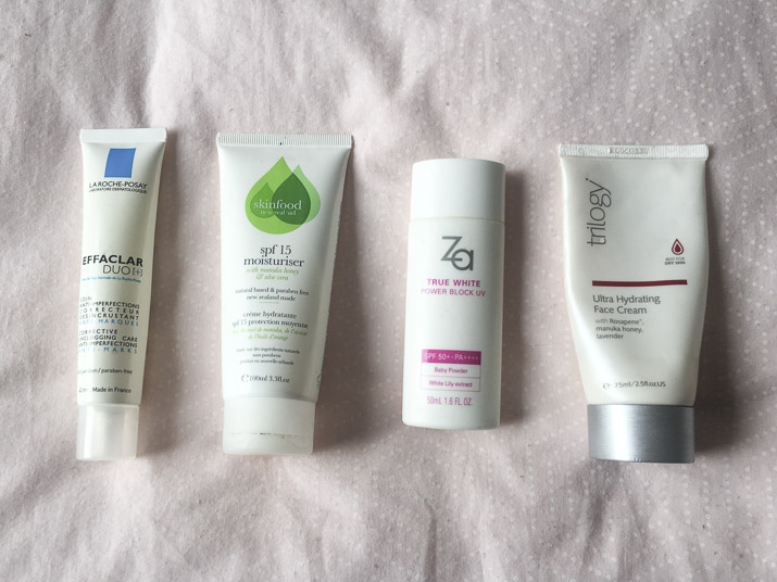 La Roche Posay Effaclar Duo+, Skinfood spf 15 moisturiser, za true white sunscreen, trilogy ultra hydrating moisturiser review by lena talks beauty