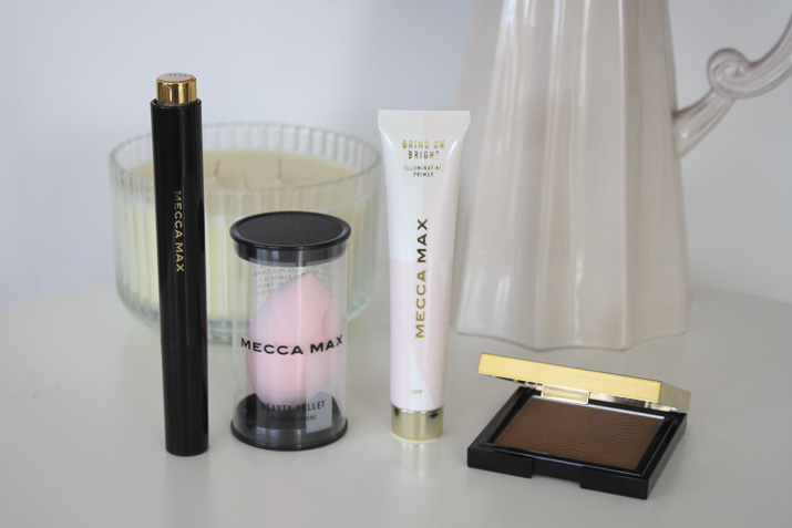 Mecca Max Shimmer Shot Illuminating Wand, Beauty Bullet Blender Sphere, Bring On Bright Illuminating Primer, Sunlit Skin Bronzer review by Lena Talks Beauty