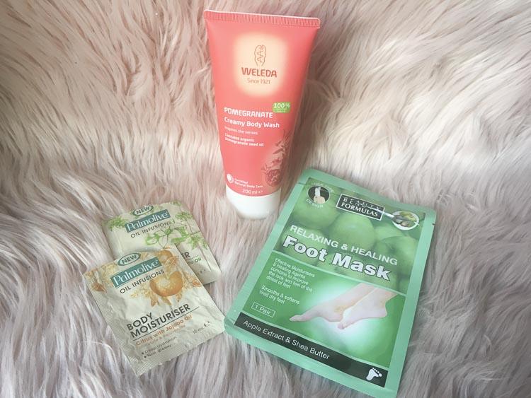 Palmolive oil body moisturiser, weleda pomegranate body wash, beauty formulas foot mask - review by Lena Talks Beauty