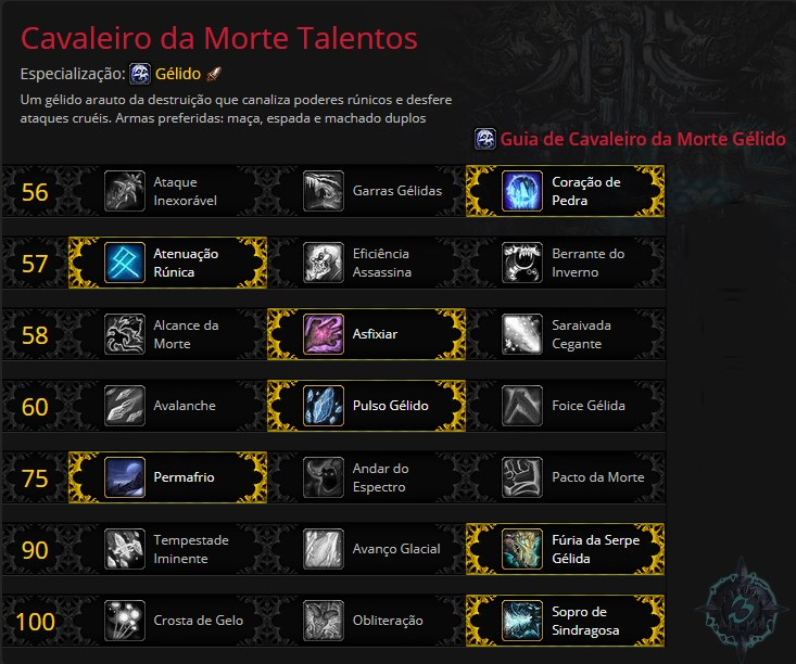 Talentos Cavaleiro da Morte Gelido | World of WarCraft, WarCraft, wow, azeroth, lore
