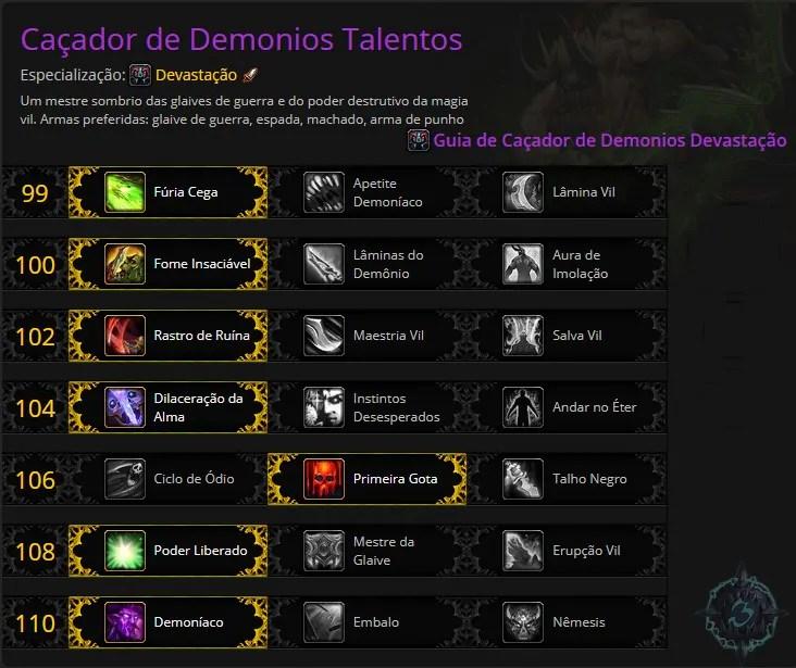 Talentos Cacador de Demonios Devastacao | World of WarCraft, WarCraft, wow, azeroth, lore