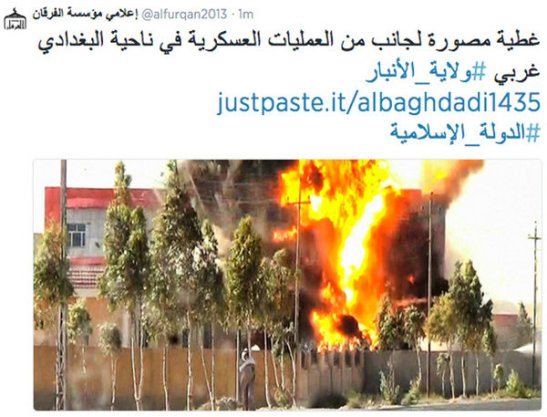 Hình ảnh về một vụ đánh bom cảm tử do ISIS đăng trên tài khoản Twitter hôm 29/8.