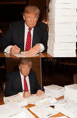 Donald Trump đăng hình ký hồ sơ khai thuế lên Twitter ngày 15-10-2015.