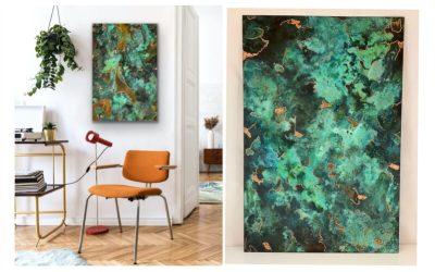 Ud i det grønne, -med fri fantasi, Bronzebilleder str 35*50 cm