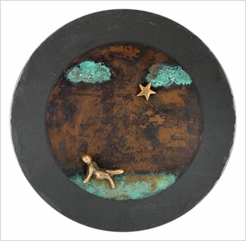 Udsmyk boligen med de små farverige fantasier 20*20 cm kunst på vægen bronzebilleder skønne patineringer