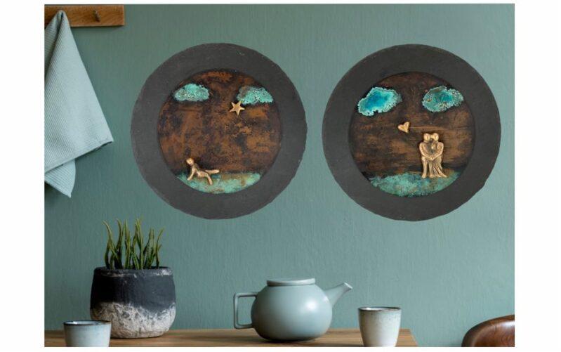 Runde bronzebilleder på skifer Ø25 cm