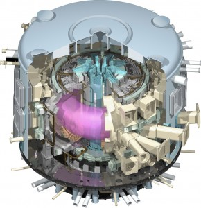 The Fusion fuel is contained in a doughnut shaped   vessel - the world's largest tokamak.