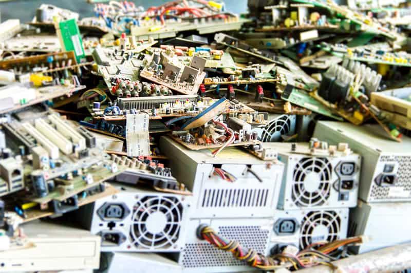 Electronic waste pile