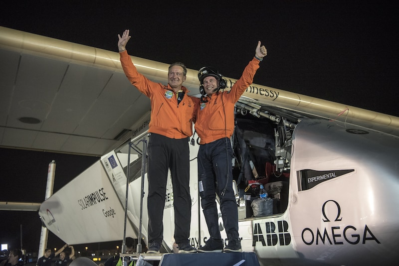 Solar Impulse 2 after landing in Abu Dhabi finishing its round-the-world journey