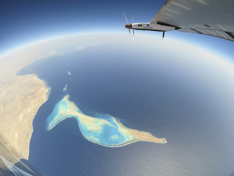 Solar Impulse 2 over the Red sea