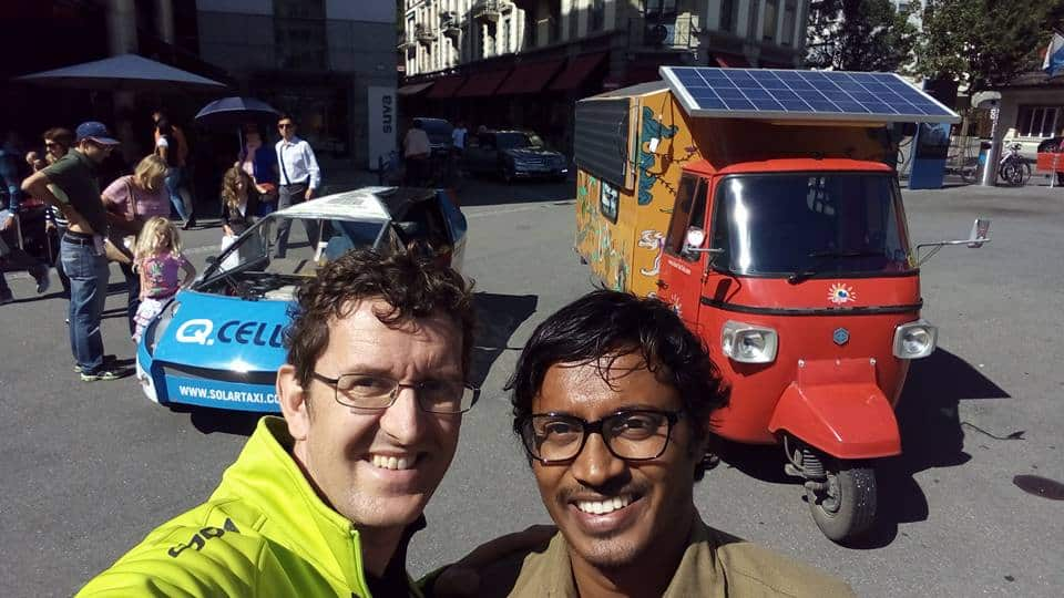 Naveen Rabelli with Louis Palmer and his solar taxi in Switzerland - source: Facebook