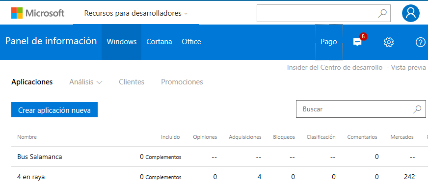 Panel de la Windows Store para la reserva de nombres y la visualizaición de los datos