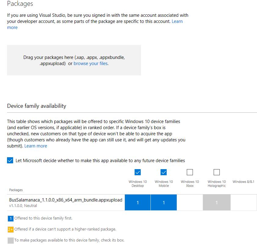 Windows Store aplicación subida
