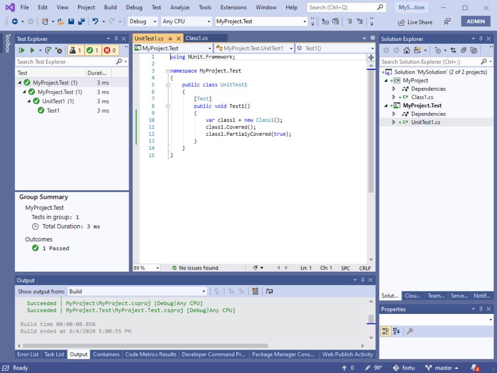 Viendo el code coverage con la extensión FineCodeCoverage el mejor recurso de .NET para ver la cobertura del codigo en el editor