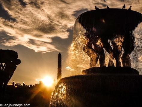 Sunset at Vigeland Park
