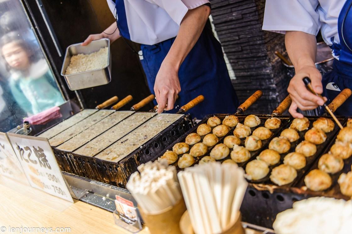 Takoyaki (fried octopus) - Osaka's favourite snack