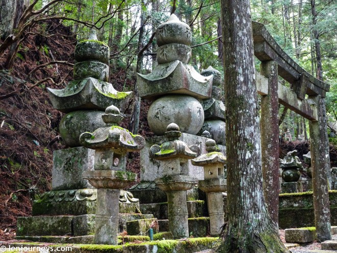Mossy tombstones in Okunoin Cemetery