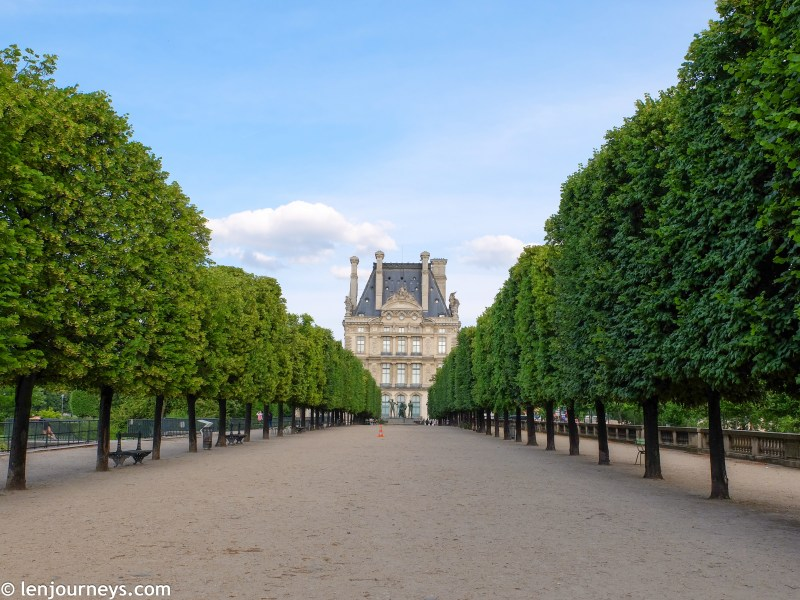 Tree-lined avenue in Tuileries Garden