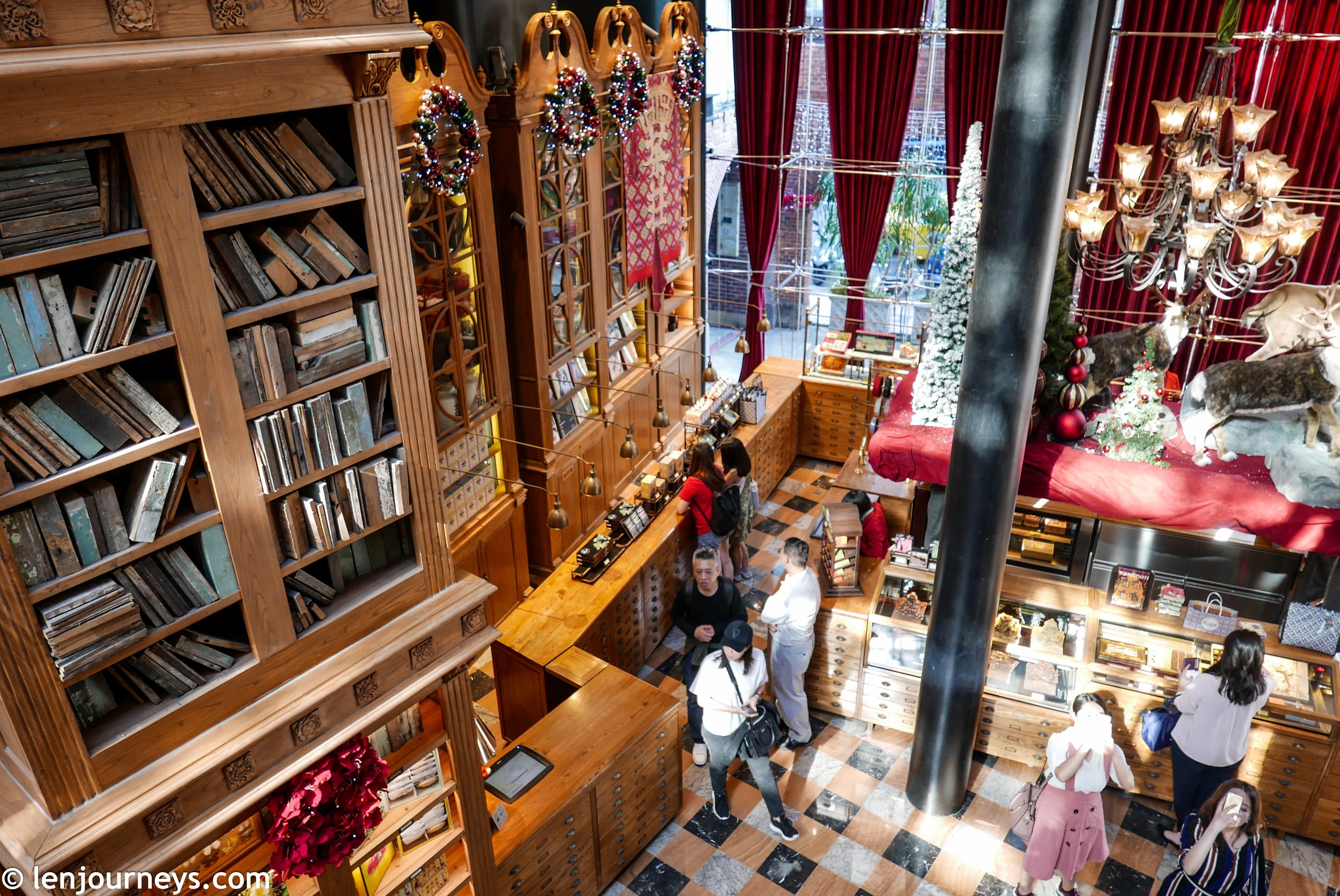 High ceiling bookshelves at Miyahara