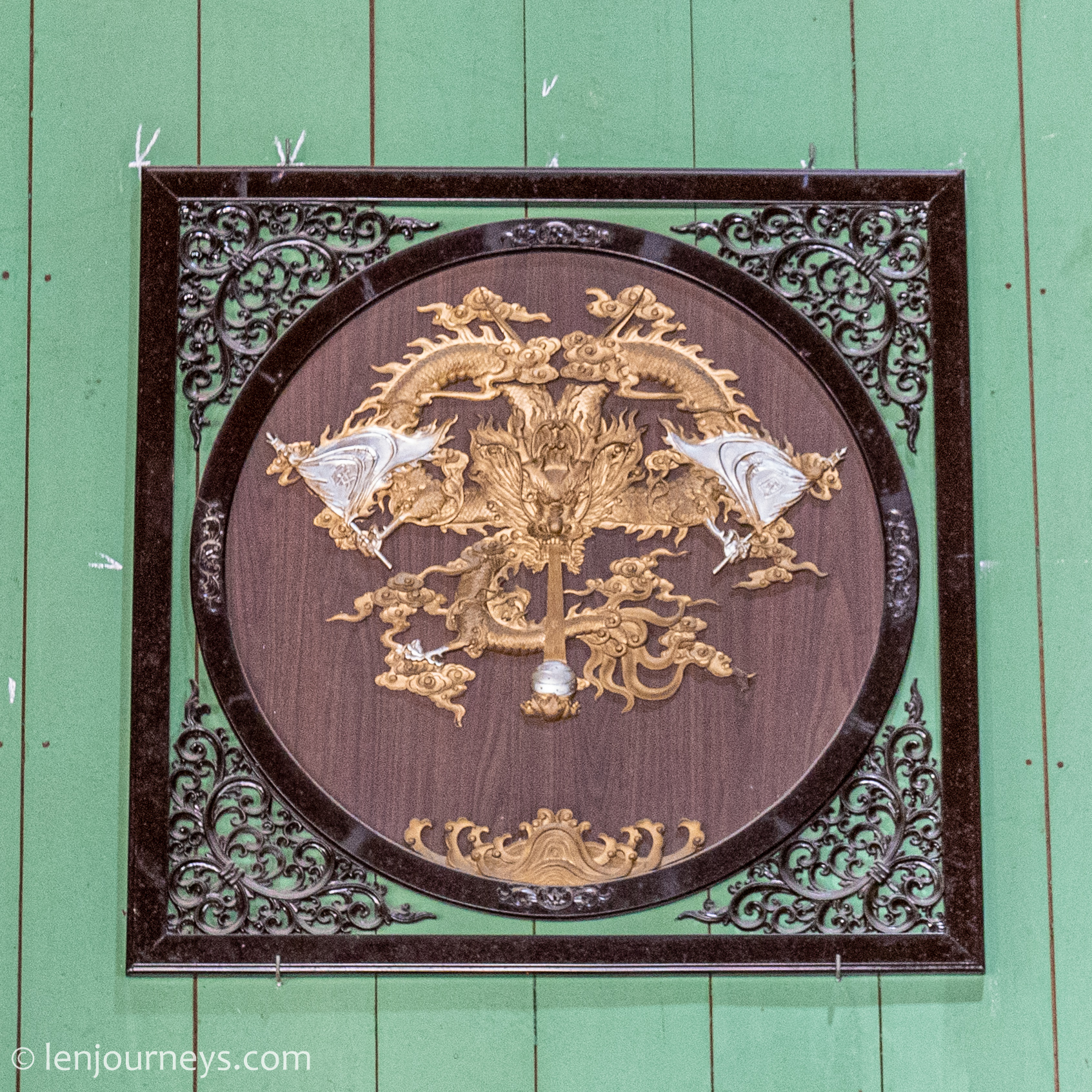 Intricate artwork inside Binh Thuy House