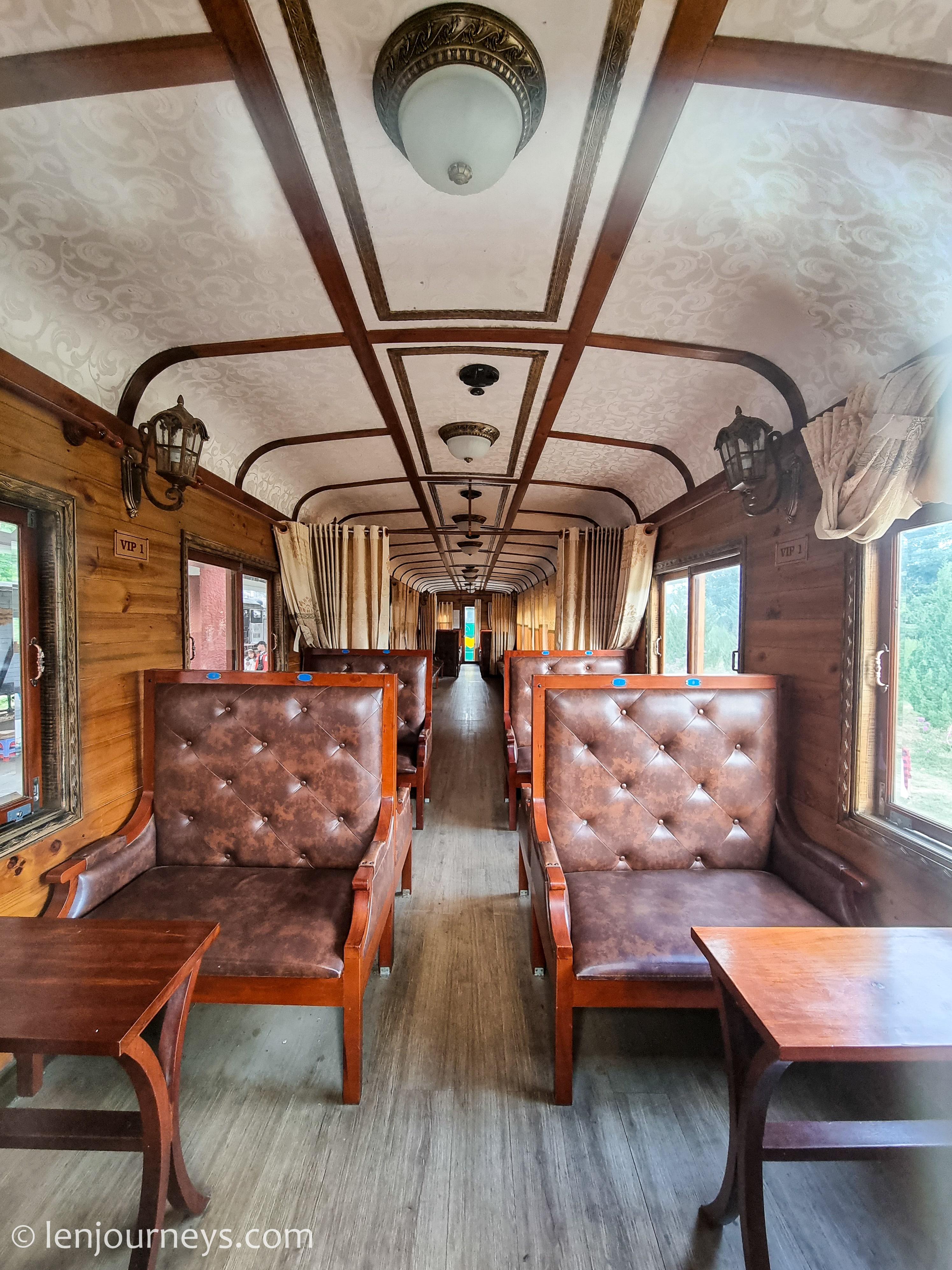 Inside the historic train