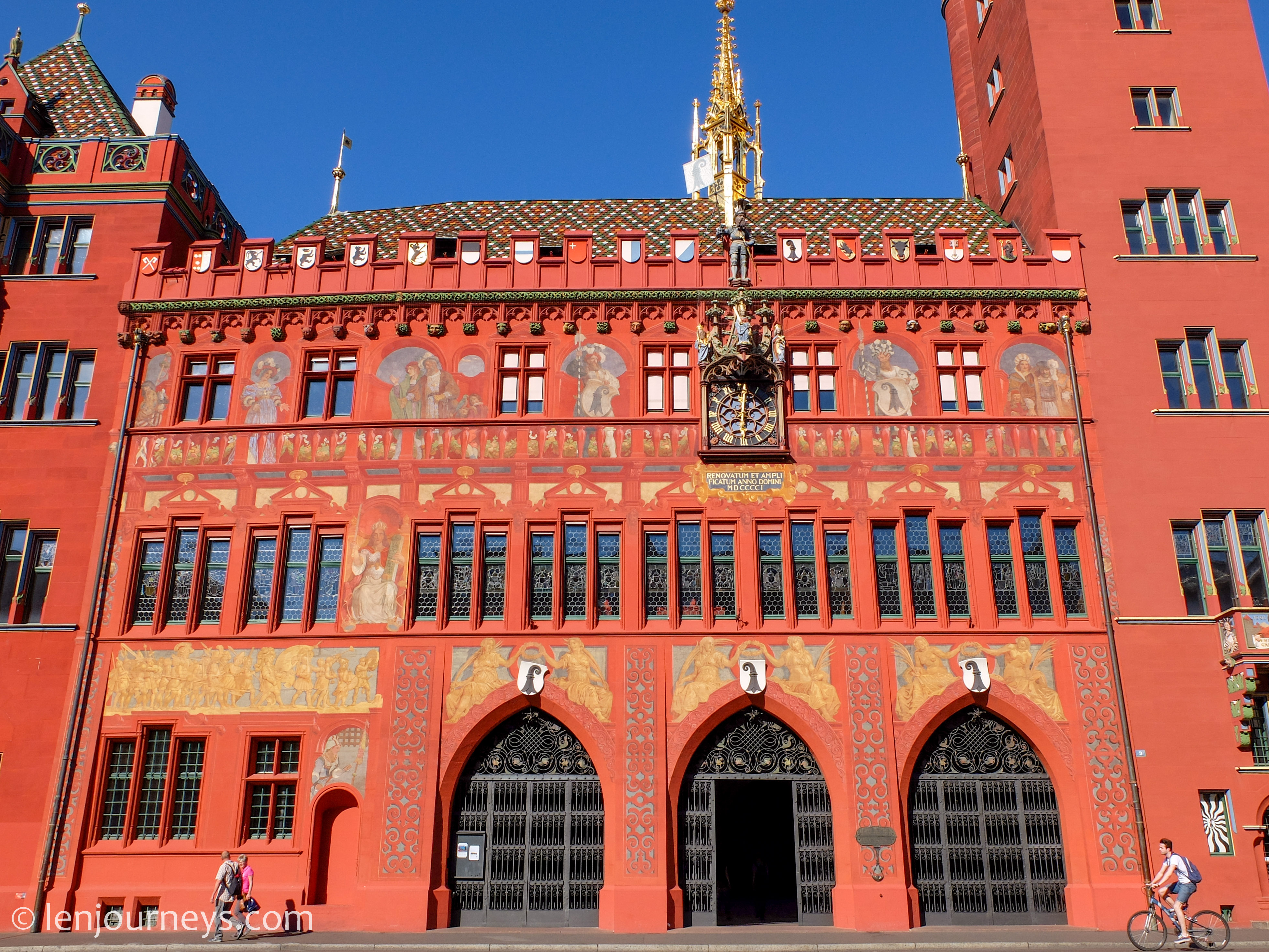 The beautiful facade of Basel City Hall
