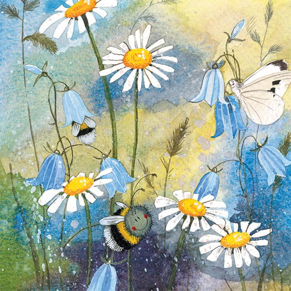 přání v obálce Včelky a sedmikrásky
